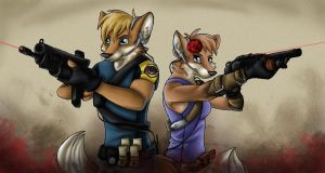 Commish - Cassie and Raptor by Willow141