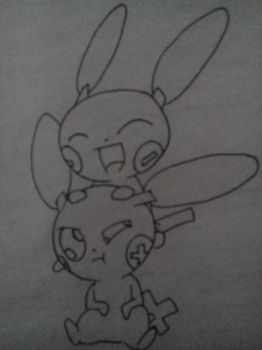 -sketch- plusle and minun  by Dharmin1234