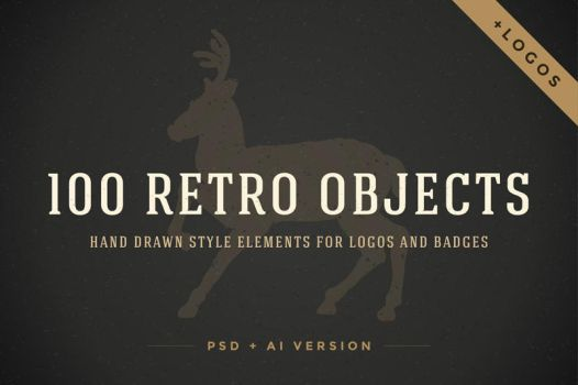 100 Retro objects for logos by creativework247