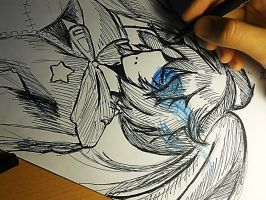 Black Rock Shooter - Drawing (2013 summer drawing) by Vocalandroid01