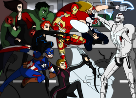 Avengers vs. Ultron by superkage