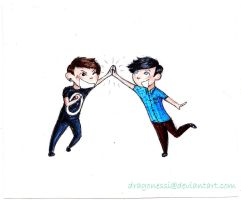 Dan and Phil high-five! by dragonessi