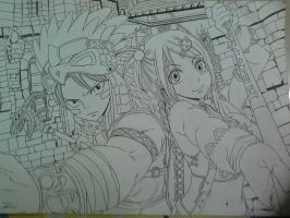 Lucy and Natsu Fan art by BongUnnie