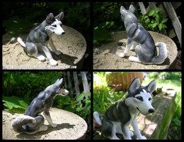 Sitting Grey Husky Sculpture by WildSpiritWolf