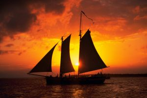 Schooner At Sunset by StillAnArtistAt50