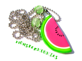Watermelon Necklace by monsterkookies