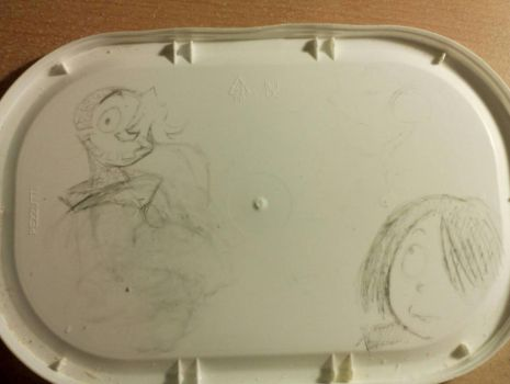 Drawing AliveDaniel and Kitaro on a Ice Cream cap. by diaxa