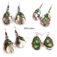 Autumn Dew Drops, the Earrings by Alkhymeia