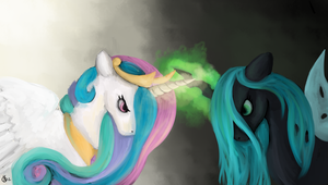 Celestia vs Chrysalis by weepysheep