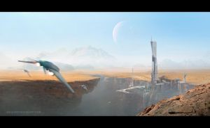 SpacePort- conceptart by AnthonyDevine