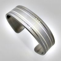 Knurled Silver and Steel Cuff by Spexton