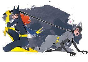 Batgirl / Catwoman by J0N-Lankry