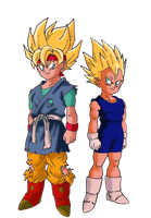 Goku Jr and Vegeta Jr Super Saiyans by DarkAngelxVegeta