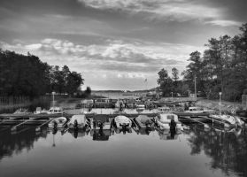 Boats on the quay by Pajunen