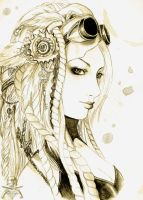 Steampunk portrait by ooneithoo