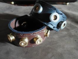 'Bullet Bracelet' Leather Cuffs by SunsetsWorkshop