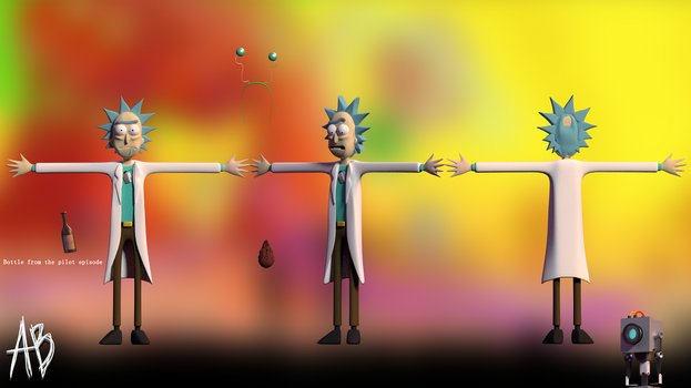 [BLENDER] Rick and Morty - Rick (with props) by AnthonyBlender