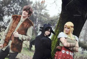 HTTYD ~ Hiccup, Toothless and Astrid II by YamatoTaichou