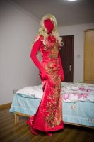 Red zentai with cheongsam by mysexyzentai