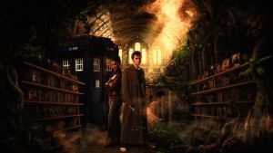 Martha and The Doctor in Vashta Nerada Library by ukphoto99