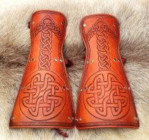 New Celtic Knot Simple Bracers by SonsOfPlunderLeather