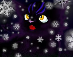 Cat in Snow by La-gato-negro