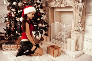 Christmas Lara Croft - fireplace by TanyaCroft