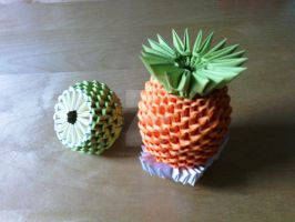 Origami 3D Pineapple and Lemon by IDEAndo-art