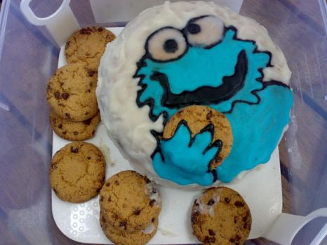 Cookie monster cake by blues-shadow