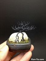 Hematite deciduous ROR wire bonsai tree by Ken To by KenToArt