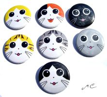 Kitty Buttons by MischievousPooka