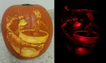 Rocket and Groot pumpkin by feathergills