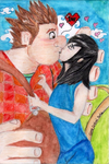 Mystic Defender Mila kisses Wreck It Ralph by Game-Central-Party