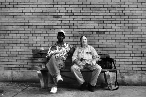 Two Men on a Bench by Luckyebbie