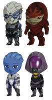 Mass Effect Sets 1+2: Garrus, Wrex, Liara, Tali by cosplayscramble