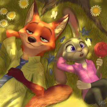 Nick and Judy [Zootopia Fan Art] by V-y-r-i-s-s