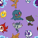 Shiny Chibi Ghost Pokemon BG by VibrantEchoes