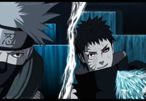 Kakashi and Obito: Fighting in Kamui dimension by FabianSM
