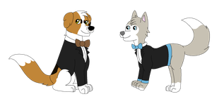 Viktor and Goliath Tuxes by RaindropLily