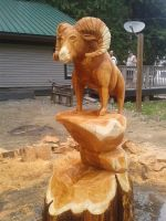 Mountain Goat chainsaw carving by Chainsaw-M-Carvings