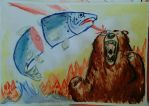 Techno bear and the salmon by LeSam