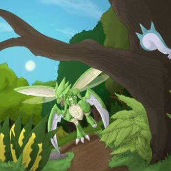 scyther is hunting by shinyscyther