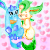 leafeon and glaceon by Hanetful