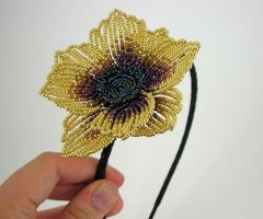 Gold and Purple Flower Headband by Lady-Blue