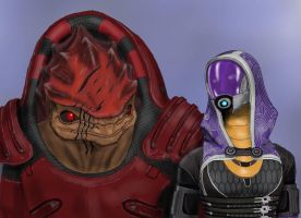 Wrex and Tali by spaceMAXmarine