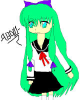 girl with green hair by Inner-instability