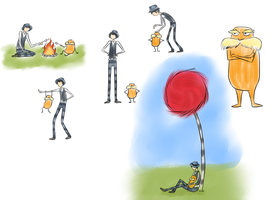 The Lorax and Once-ler doodles by WolframD