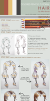 Colored pencils tutorial HAIR part 1 - BROWN by kiko-burza