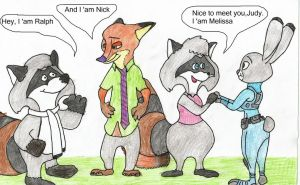 Meeting of couple Raccoons and  couple Wilde by Hamster56