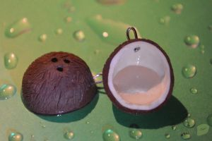 Polymer clay coconut earrings by trollwaffle